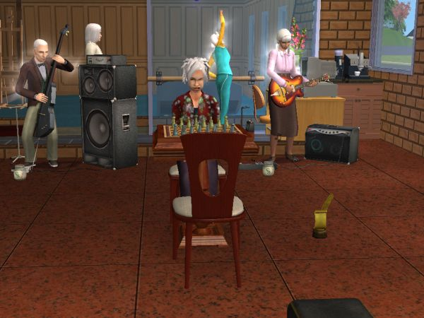 Screenshot Sims 2 - elderly sims hobbying