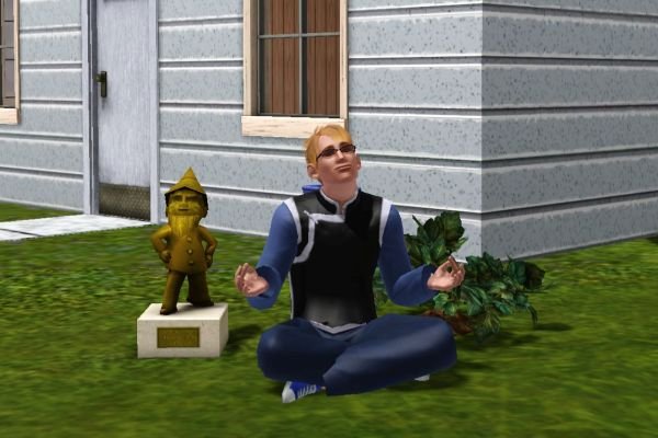 Screenshot Sims 3: Sim meditating outside