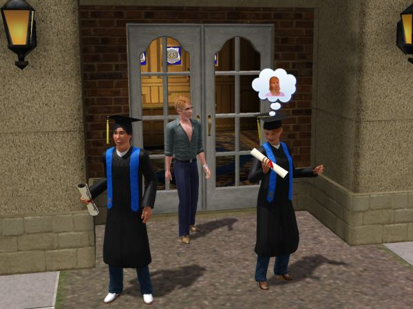 Screenshot Sims 3, after a high school graduation